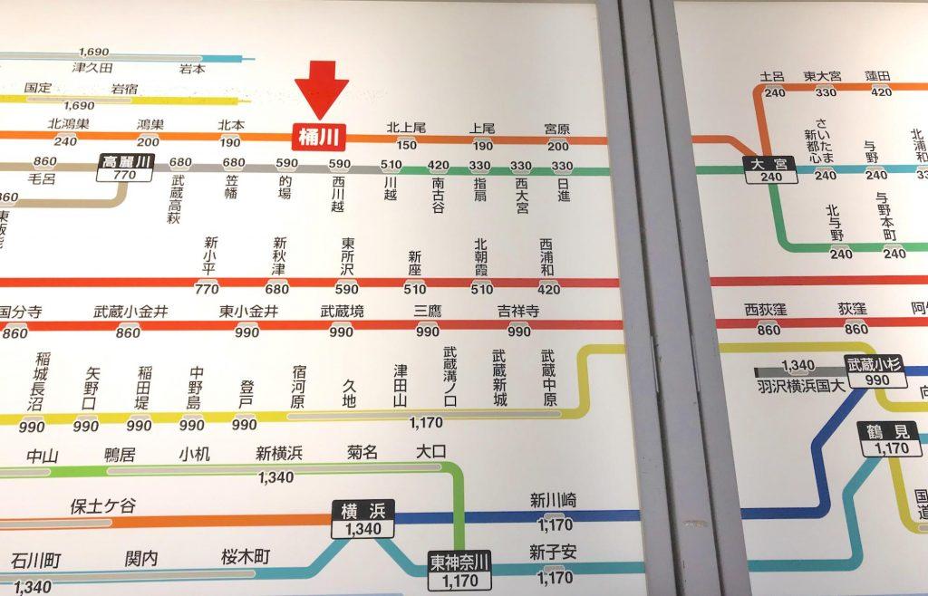 桶川駅の路線図